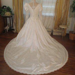 Vintage 50s Wedding Dress Long Sleeve Choker Neck